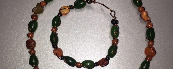 Jade, Carnelian, Goldstone and Black Onyx Bracelet and Choker Set