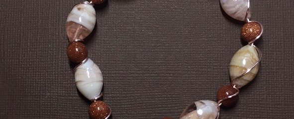 Goldstone and Pink Shell Wire Wrapped