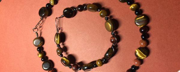 Tigers Eye Choker and Bracelet Set
